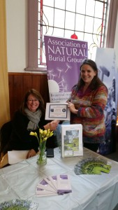 Rosie from Natural Death Centre presenting a Certificate to Sian of Deerton Natural Burial Ground